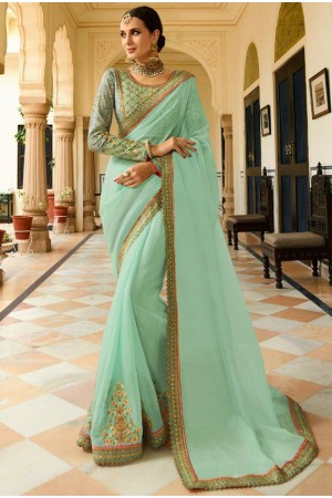 Light green Barfi silk saree Indian wedding saree double blouse