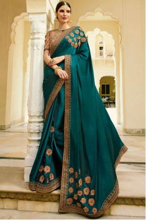Teal Color Barfi silk saree Indian wedding saree double blouse