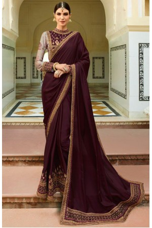 Wine Color Barfi silk saree Indian wedding saree double blouse