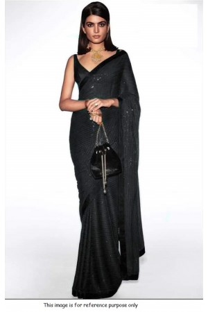 Bollywood Sabyasachi Inspired black georgette sequin saree