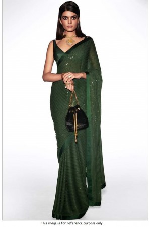 Bollywood Sabyasachi Inspired green georgette sequin saree