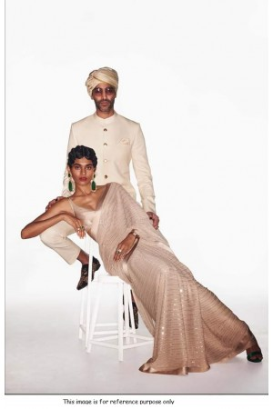 Bollywood Sabyasachi Inspired white georgette sequin saree