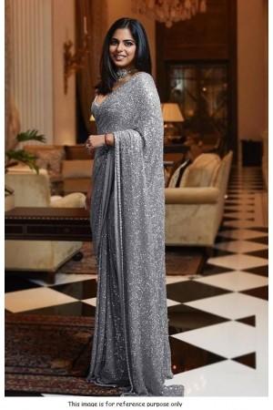 Bollywood Sabyasachi Inspired Isha ambani grey sequins saree