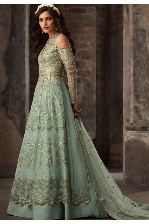 blue net embroidered designer anarkali suit 33007