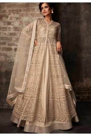 cream net embroidered designer anarkali suit 33006