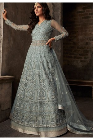 grey net embroidered designer anarkali suit 33004