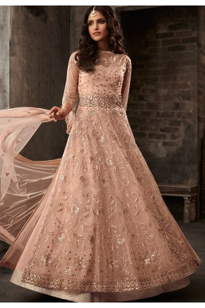 peach net embroidered designer anarkali suit 33001