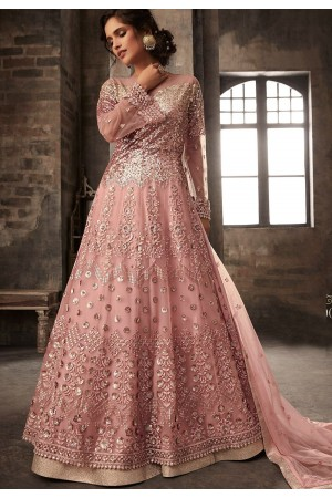 pink net embroidered designer anarkali suit 33005