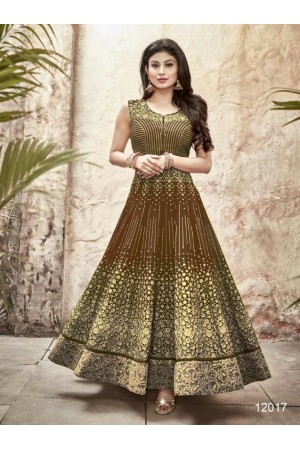 Mouni Roy mehendi green color faux georgette wedding wear anarkali suit