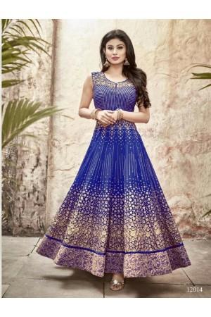 Mouni Roy royal blue color faux georgette wedding wear anarkali suit