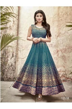 Mouni Roy cyan blue color faux georgette wedding wear anarkali suit