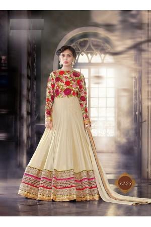 Cream color pure georgette wedding wear anarkali suit
