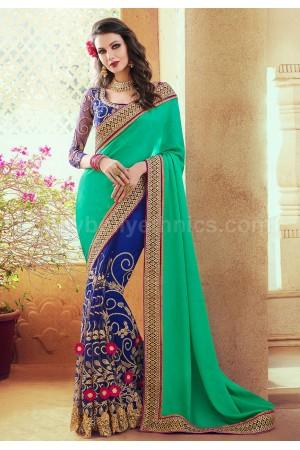 Teal blue georgette and satin wedding wear saree