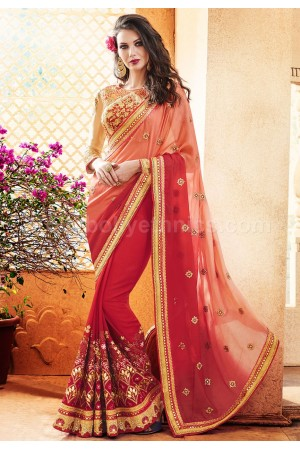 Red and peach colour faux georgette wedding wear saree