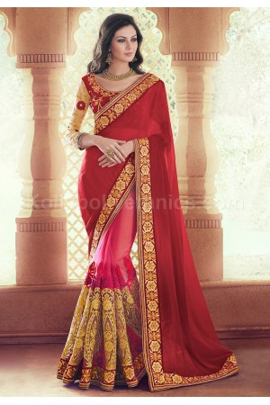 Red and pink georgette and red wedding wear saree
