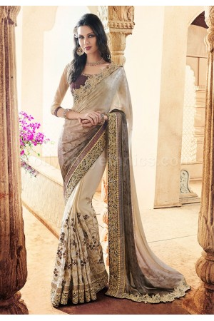 Beige colour crepe and georgette wedding wear saree