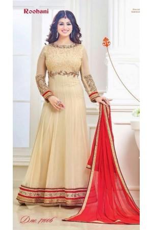 Ayesha takia Eid Special beige Anarkali Suit
