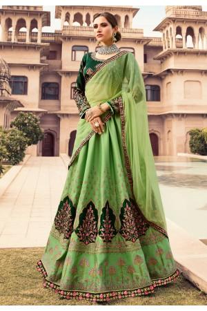 green barfi silk a line lehenga choli 1004