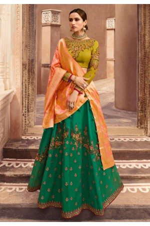 green taffeta embroidered lehenga choli 1002