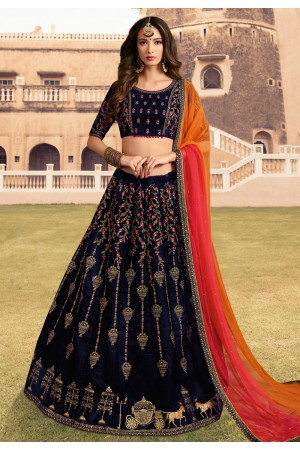 navy blue velvet embroidered lehenga choli 1010