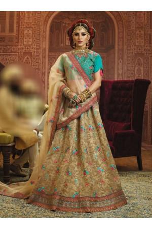 Beige Organza wedding wear lehenga choli 10652