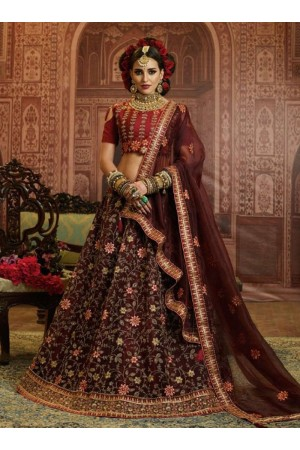 Brown Organza wedding wear lehenga choli 10655
