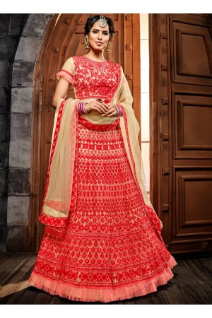 Cream net net wedding lehenga choli 4991