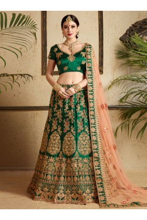 Green satin wedding lehenga choli 1303