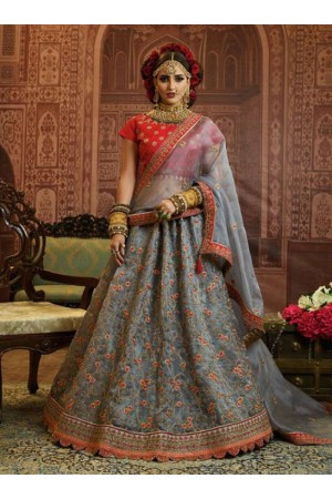 Grey Organza wedding wear lehenga choli 10651