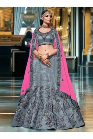 Grey color Organza wedding lehenga choli 1102