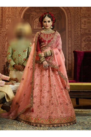Peach Organza wedding wear lehenga choli 10653
