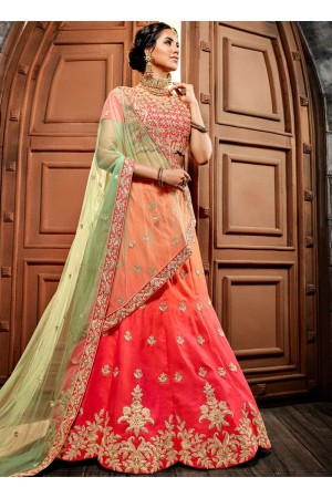 Peach pink shaded silk net wedding lehenga choli 4993
