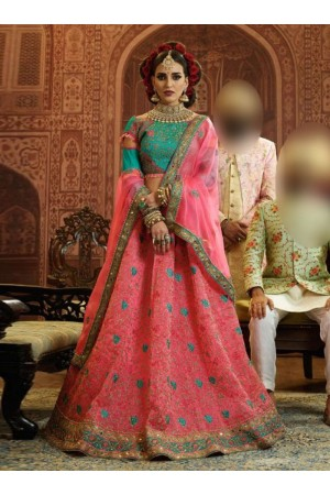 Pink and Blue Organza wedding wear lehenga choli 10658
