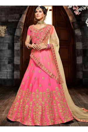 Pink silk net wedding lehenga choli 4995