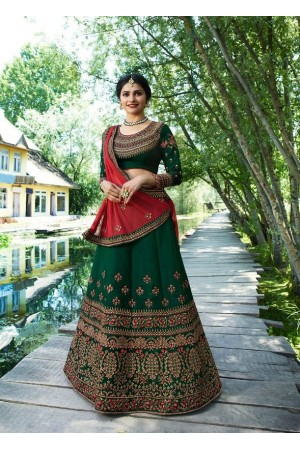 Prachi Desai Green silk wedding wear lehenga choli 19775