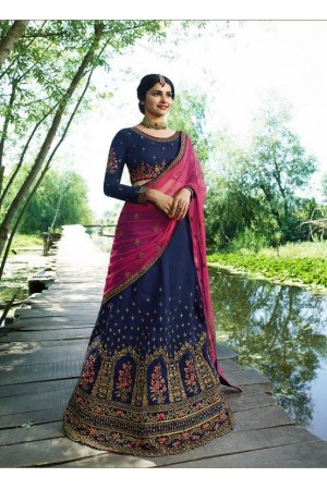 Prachi Desai Navy blue pink silk wedding wear lehenga choli  19772