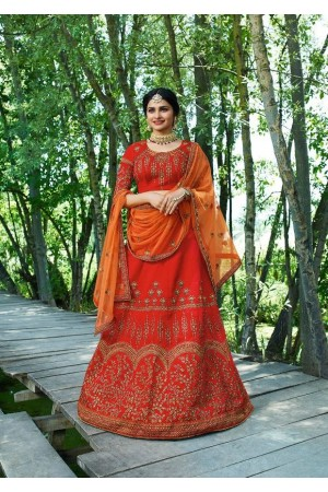 Prachi Desai Orange silk wedding wear lehenga choli 19774