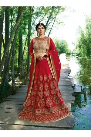 Prachi Desai Red beige silk wedding wear lehenga choli 19771