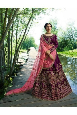 Prachi Desai Wine pink silk wedding wear lehenga choli 19773