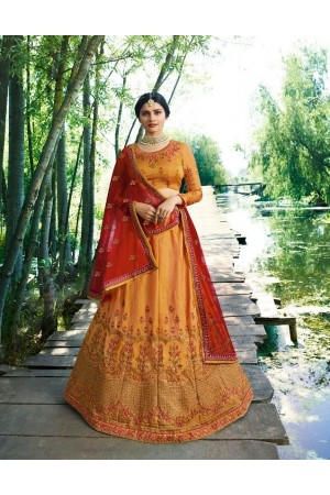 Prachi Desai Yellow silk wedding wear lehenga choli 19776