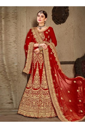 Red satin silk Indian Wedding lehenga choli 8003