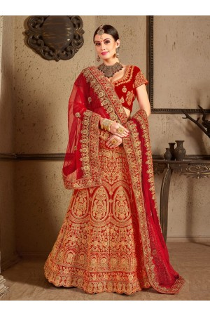 Red velvet Indian Wedding lehenga choli 8005