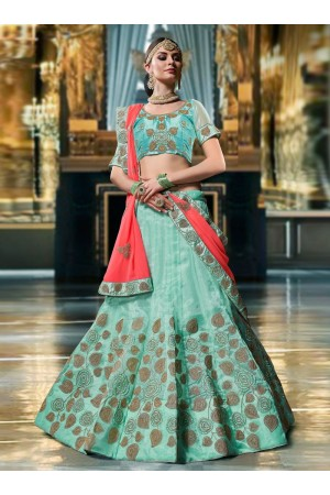 Sea blue color Organza wedding lehenga choli 1104