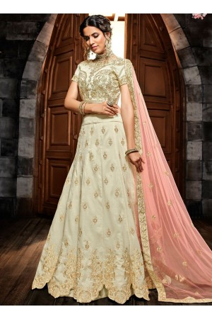 White silk net wedding lehenga choli 4992