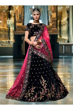 Wine color velvet wedding lehenga choli 1101