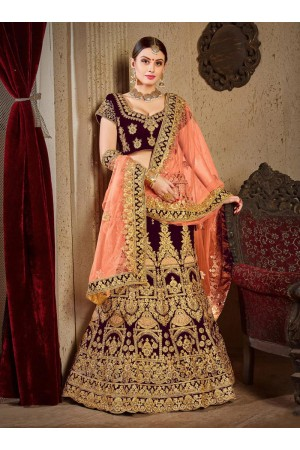 Wine satin silk Indian Wedding lehenga choli 8002