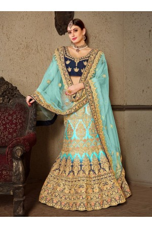 sky blue satin silk Indian Wedding lehenga choli 8004