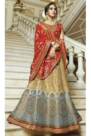 Blue beige shaded silk Indian wedding lehenga 13162