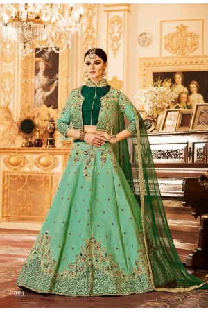Green Silk Indian wedding Lehenga choli 004