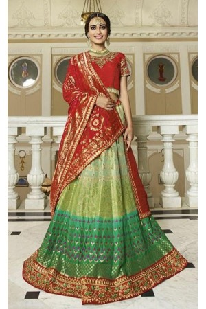 Green red silk Indian wedding lehenga 13170
